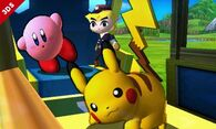 Toon Link Kirby y Pikachu en el Tren de los Dioses SSB4 (3DS)
