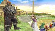 Ganondorf, Zelda, Link y Sheik en el Reino del Cielo SSB4 (Wii U)