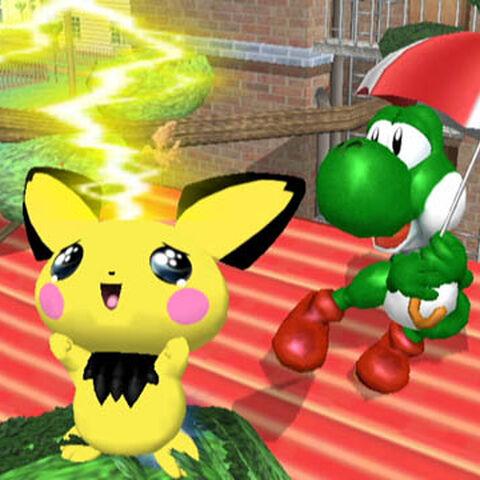 Pichu usando Trueno en <i>Super Smash Bros. Melee</i>.