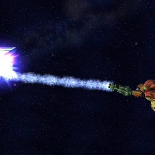 Samus usando su Agarre Aéreo como una recuperación con cuerda en <i>Super Smash Bros. Brawl</i>.