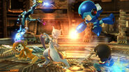 Mewtwo, Samus Zero y tres Luchadores Mii en la Pirosfera SSB4 (Wii U)