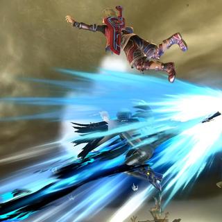 Bayonetta usando el movimiento en el aire...