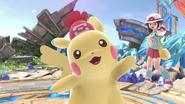 Pikachu junto a la Entrenadora Pokémon