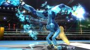 Samus Zero usando su ataque fuerte hacia arriba SSB4 (Wii U)
