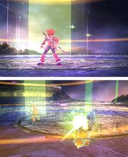 Un luchador usando el don Luz celestial en Kid Icarus Uprising