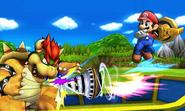 Mario atacando con un Brazal perforador SSB4 (3DS)
