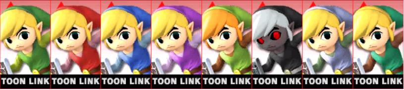 Paleta de colores de Toon Link SSB4 (3DS)