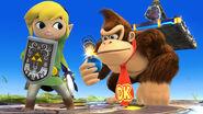 Toon Link, Link y Donkey Kong en el Campo de batalla SSB4 (Wii U)