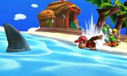 Diddy Kong, Yoshi y Toon Link en la Isla Tórtimer SSB4 (3DS)