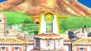 Olimar, Samus Zero y la Entrenadora de Wii Fit en Ciudad Delfino SSB4 (Wii U)