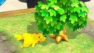 Pikachu descansando bajo el árbol del Aldeano SSB4 (Wii U)