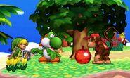 Toon Link, Yoshi y Diddy Kong en la Isla Tórtimer SSB4 (3DS)