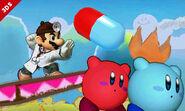 Dr. Mario y dos Kirby en Isla de Yoshi SSB4 (3DS)