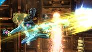 Samus Zero dando una patada en el aire SSB4 (Wii U)