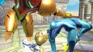 Samus Zero junto a Samus SSB4 (Wii U)