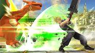 Cloud atacando a Charizard en el Coliseo SSB4 (Wii U)