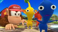 Diddy Kong y dos Pikmin en Altárea SSB4 (Wii U)