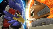 Fox y Falco en Destino final SSB4 (Wii U)