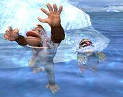 Donkey Kong y Wario nadando SSBB