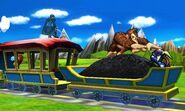 Greninja, Marth y Donkey Kong en el Tren de los Dioses SSB4 (3DS)
