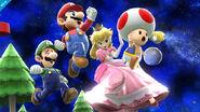 Luigi, Peach y Mario en Galaxia Mario SSB4. Wii U