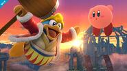 Rey Dedede usando su ataque aéreo normal SSB4 (Wii U)
