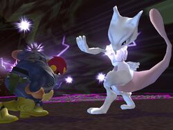 Mewtwo using the *Catch Attack*
