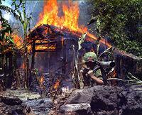 Burning Viet Cong base camp