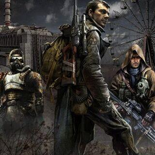 Artwork przedstawiający głównych bohaterów serii S.T.A.L.K.E.R od lewej: Striełok, Major Diegtiariow, Najemnik Szrama