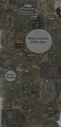 Map of the Zone with Brain Scorcher Effect Area