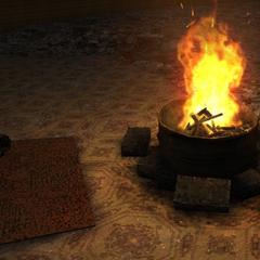 Członkowie Monolitu przy ognisku