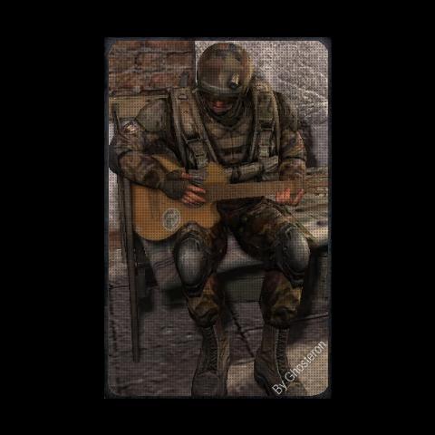 Klimenko grający na gitarze