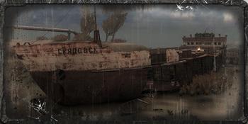 """Wrak statku, zwany Skadowskiem, w Zatonie. To pierwsze miejsce jakie odwiedza <a href=""""/pl/wiki/Major_Diegtiariow"""" title=""""Major Diegtiariow"""">Major Diegtiariow</a>."""