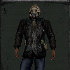 Kurtka bandytów z maską gazową