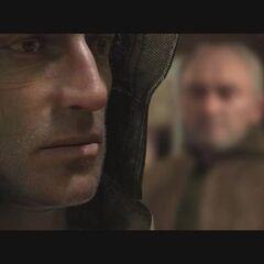 Bohaterw cut-scence z Doktorem w tle