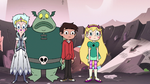 S3E7 Star, Marco, Moon, and Buff Frog look at Ludo