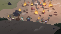 S3E36 Angry mob approaches Moon and Eclipsa