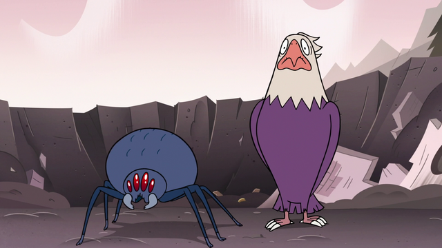 Файл:S3E7 Bald eagle and spider looking at Ludo.png