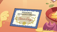 S4E26 Marco's diploma covered in grease