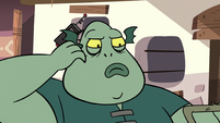 S3E17 Buff Frog scratching under his ear