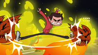 S1E4 Marco split-kicks firecats