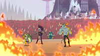 S2E12 Dogbull and monsters surrounded by fire