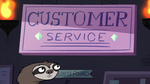 S2E18 Sloth employee looks at Customer Service sign