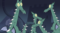 S3E15 Dragons looking at Marco Diaz