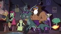 S3E22 Talon Raventalon appears on a dragon-cycle
