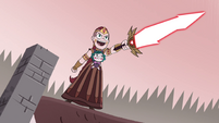 S4E35 Queen Solaria points her sword at the monster