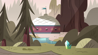 S4E8 Side view of Moon and River's camp