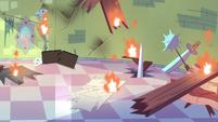 S3E23 Star Butterfly's bedroom in flames