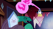 S2E25 Glossaryck about to strike Rhombulus with hammer
