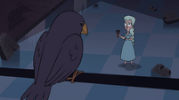 S4E15 Crow looking down at Moon Butterfly